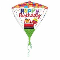 Helium Ballon Happy Birthday Diamant 43x38cm leeg of gevuld