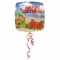 Helium Ballon Happy Birthday Dinosaurus 43cm leeg of gevuld