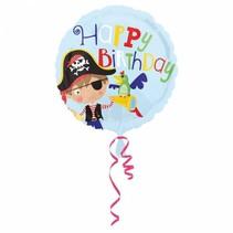 Helium Ballon Happy Birthday Piraat 43cm leeg