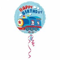 Helium Ballon Happy Birthday Trein 43cm leeg
