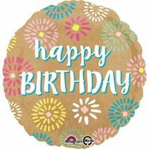 Helium Ballon Happy Birthday Papier 43cm leeg of gevuld