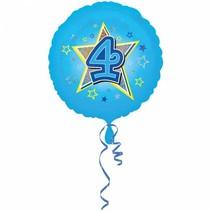 Helium Ballon 4 Jaar Blauw 43cm leeg