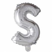 Folie Ballon Letter S Zilver 102cm leeg of gevuld