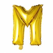 Folie Ballon Letter M Goud 102cm leeg
