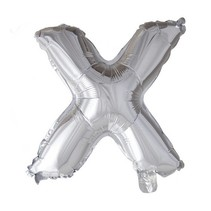 Folie Ballon Letter X Zilver 41cm met rietje