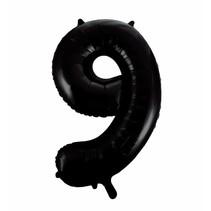 Folie Ballon Cijfer 9 Zwart XL 86cm leeg