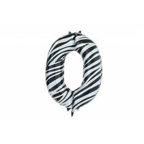 Folie Ballon Cijfer 0 Zebra XL 86cm leeg