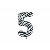 Folie Ballon Cijfer 5 Zebra XL 86cm leeg