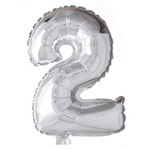 Folie Ballon Cijfer 2 Zilver 41cm met rietje