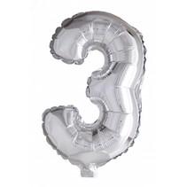 Folie Ballon Cijfer 3 Zilver 41cm met rietje