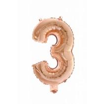 Folie Ballon Cijfer 3 Rosé Goud 41cm met rietje