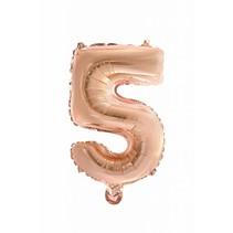 Folie Ballon Cijfer 5 Rosé Goud 41cm met rietje