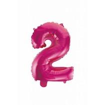 Folie Ballon Cijfer 2 Roze 41cm met rietje
