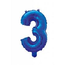 Folie Ballon Cijfer 3 Blauw 41cm met rietje