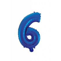 Folie Ballon Cijfer 6 Blauw 41cm met rietje