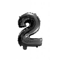 Folie Ballon Cijfer 2 Zwart 41cm met rietje