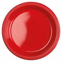 Rode Borden Plastic 23cm 10 stuks