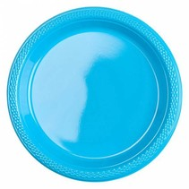 Lichtblauw Gebaksbordjes Plastic 18cm 8 stuks