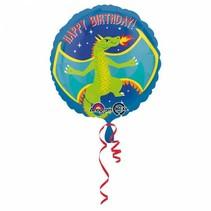 Helium Ballon Happy Birthday Draak 43cm leeg
