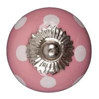 Porseleinen meubelknop roze wit gestippeld