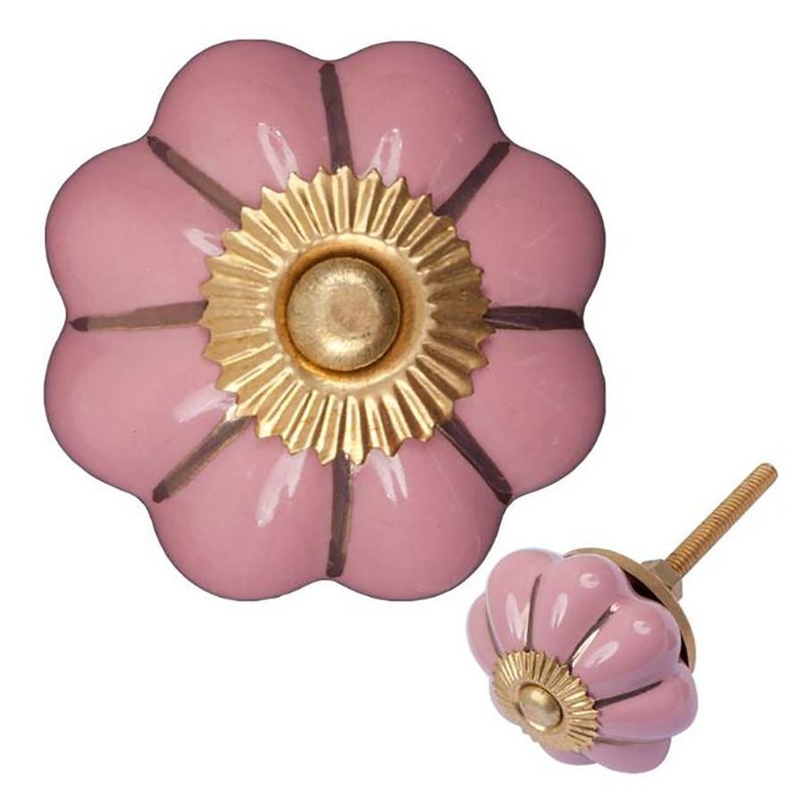 Porseleinen meubelknop roze goud bloem