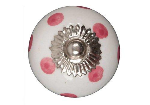 Meubelknop wit roze gestippeld - donker