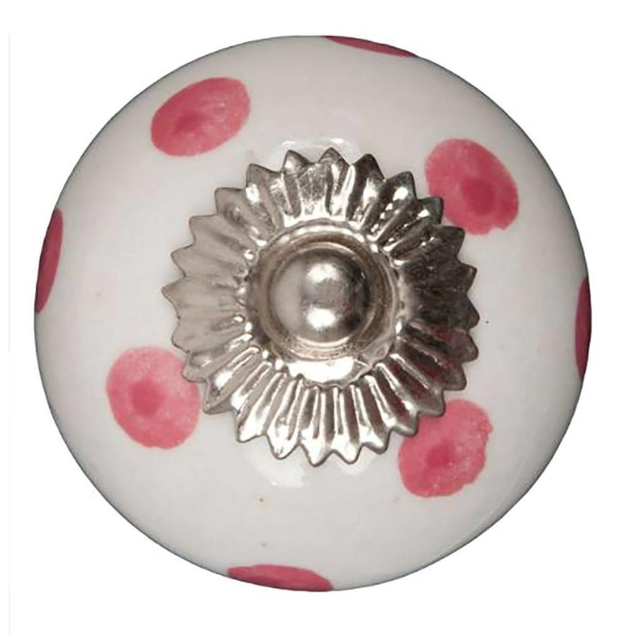 Porseleinen meubelknop wit roze gestippeld - donker