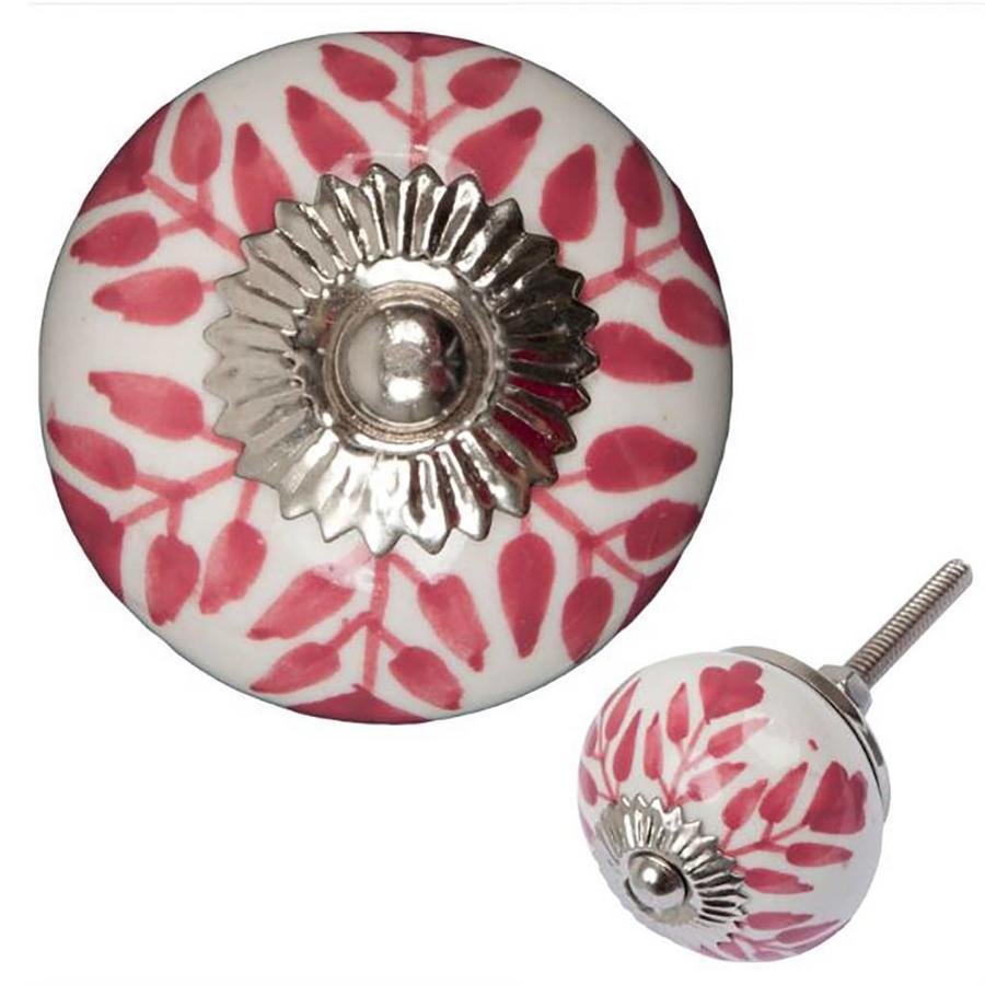 Porseleinen meubelknop wit roze blaadjes