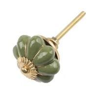 Porseleinen meubelknop groen goud bloem