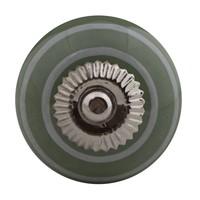 Porseleinen meubelknop groen wit gestreept
