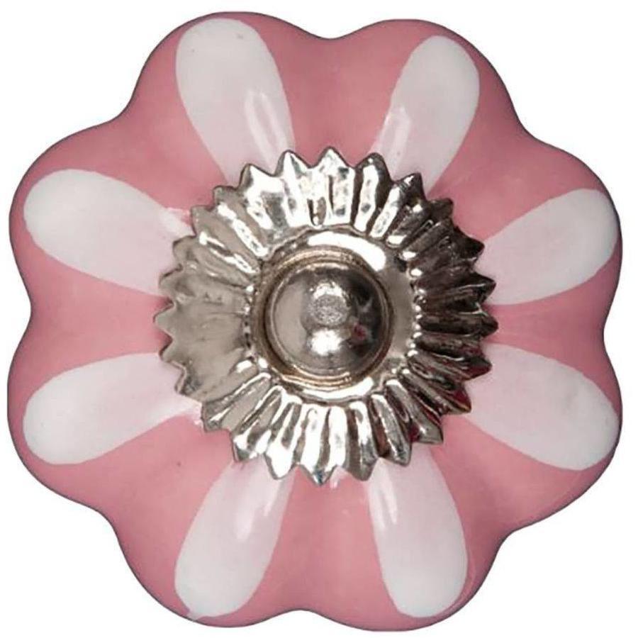 Porseleinen meubelknop roze wit bloem
