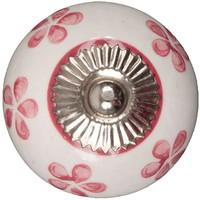 Porseleinen meubelknop wit roze bloemetjes