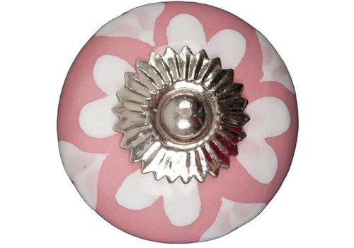 Meubelknop roze wit hartjes