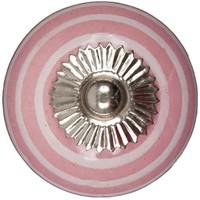 Porseleinen meubelknop roze wit gestreept