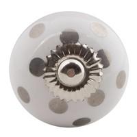 Porseleinen meubelknop zilveren stippels