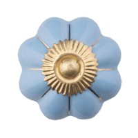 Porseleinen meubelknop blauw goud bloem