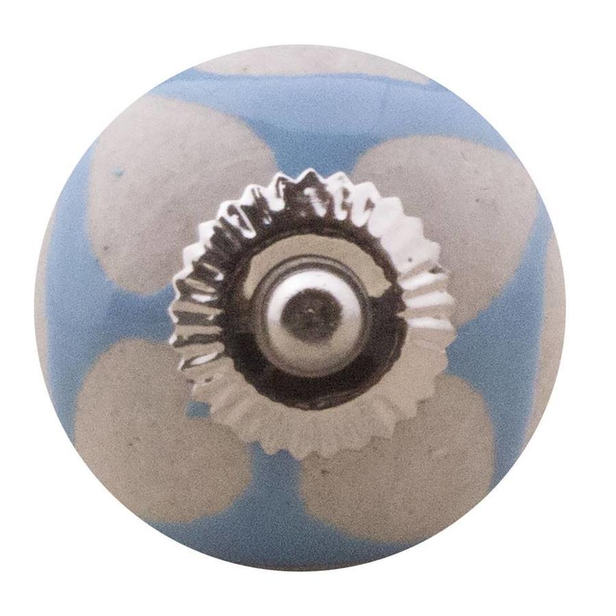 Porseleinen meubelknop blauw beige hartjes