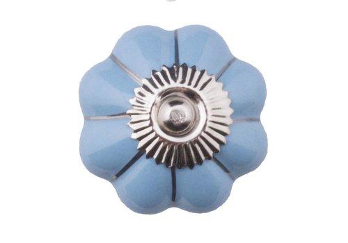 Meubelknop blauw zilver bloem