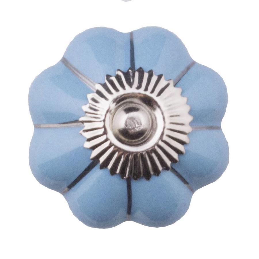 Porseleinen meubelknop blauw zilver bloem