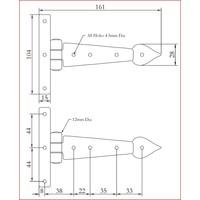 Smeedijzeren scharnier punt 153mm