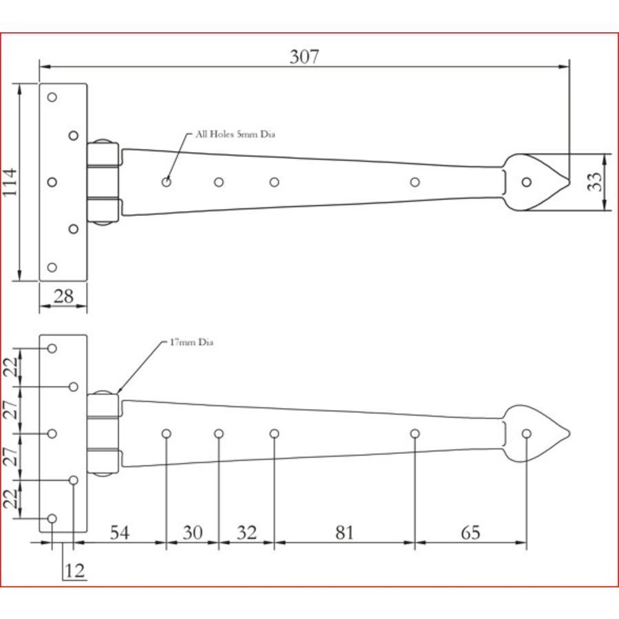 Smeedijzeren scharnier punt 305mm