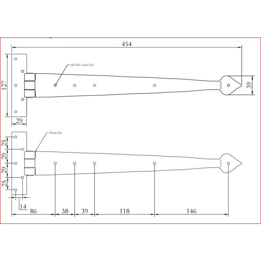 Smeedijzeren scharnier punt 460mm