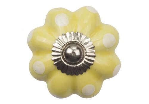 Meubelknop bloem geel wit gestippeld