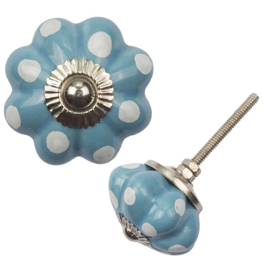 Porseleinen meubelknop bloem blauw wit gestippeld