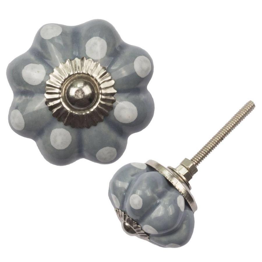 Porseleinen meubelknop bloem grijs wit gestippeld