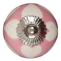 Porseleinen meubelknop roze beige hartjes