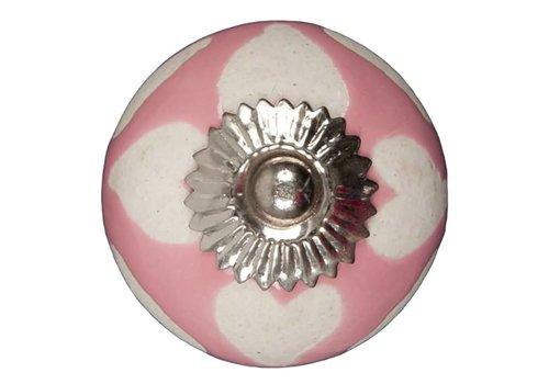 Meubelknop roze beige hartjes