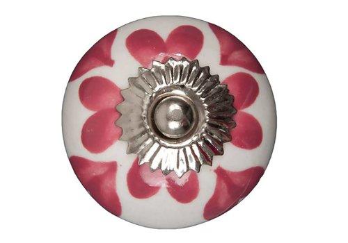 Meubelknop wit roze hartjes