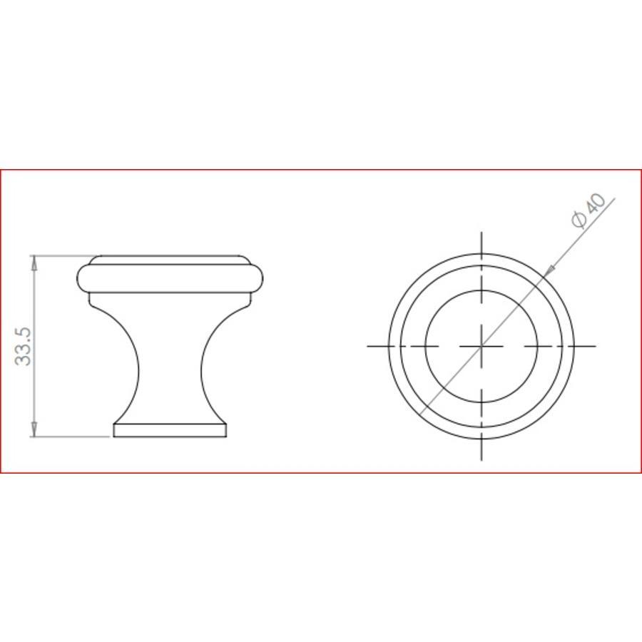 Gietijzeren kastdeurknop 40mm - pewter finish