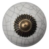 Porseleinen meubelknop wit gekrakeleerd